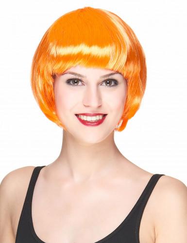 Peruca de cabelos curtos cor-de-laranja para mulher