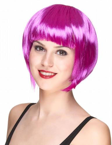 Peruca curta violeta para mulher
