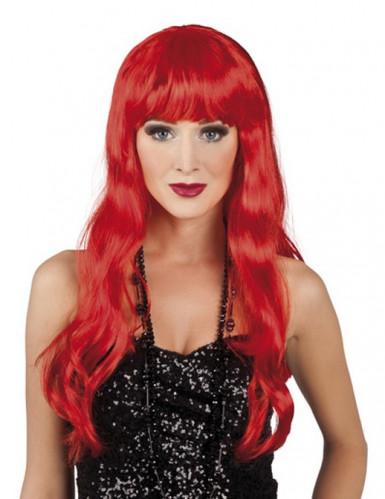 Peruca ruiva de cabelos compridos para mulher