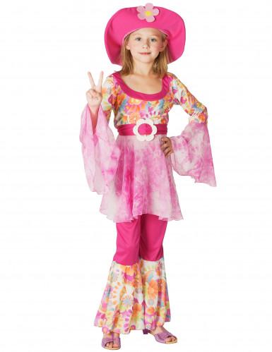 Disfarce hippie cor-de-rosa menina