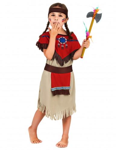 Disfarce de índia menina vermelho e bege