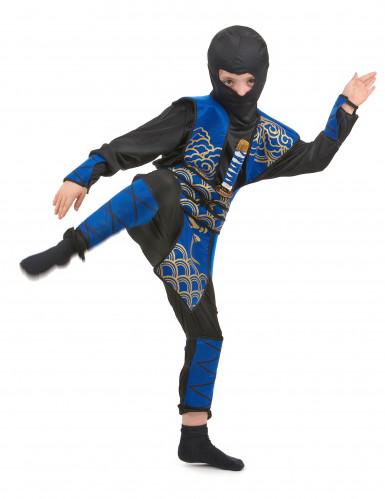Disfarce ninja azul rapaz