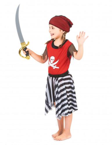 Disfarce de pirata vermelha para menina-1