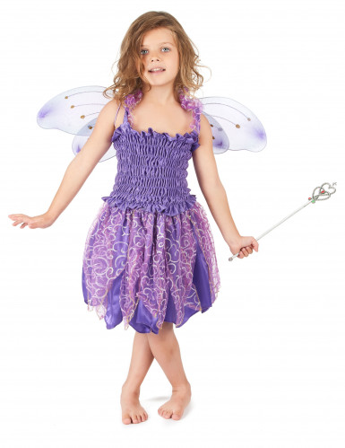 Disfarce de fada violeta menina