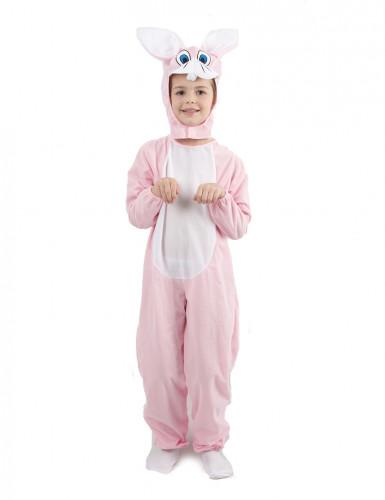 Disfarce coelho criança macacão cor-de-rosa