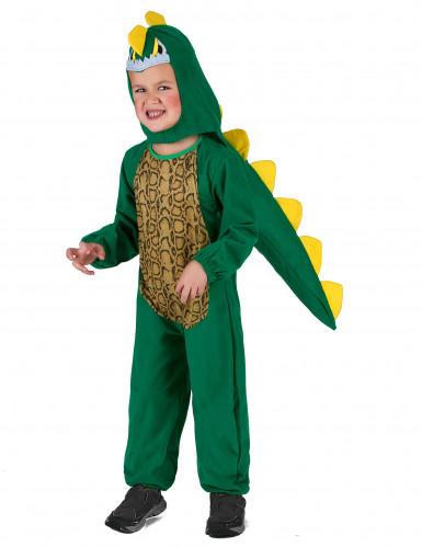 Disfarce dinossauro verde e amarelo criança