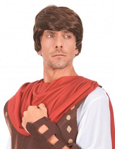 Peruca castanha de soldado romano homem
