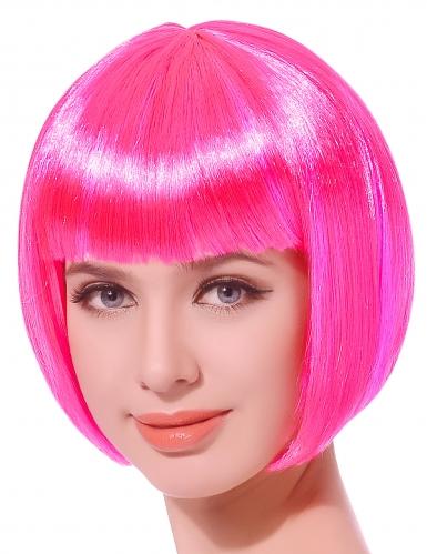 Peruca curta cor-de-rosa fluorescente mulher