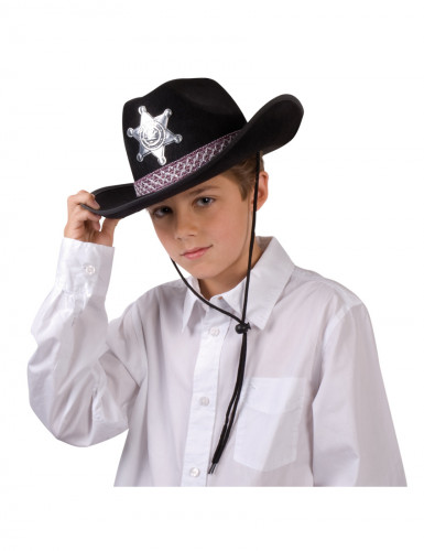 Chapéu de xerife preto para rapaz