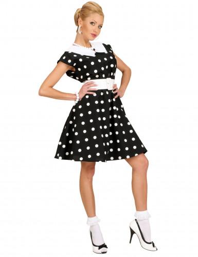 Disfarce de vestido às pintas anos 50 mulher
