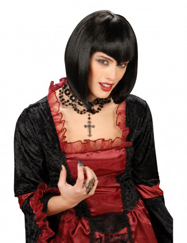 Peruca preta com franja bicuda para mulher