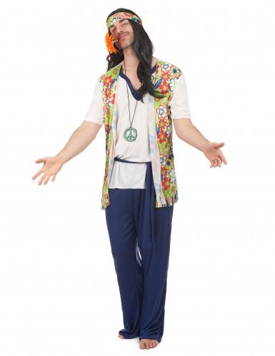 Disfarce de hippie azul para homem