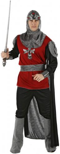 Disfarce de cavaleiro vermelho e preto homem