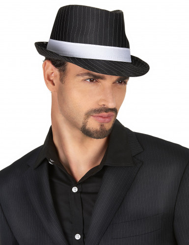 Chapéu gangster preto às riscas adulto-1