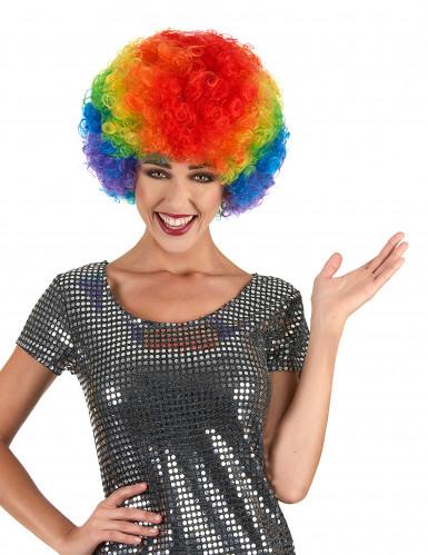 Peruca afro disco colorida confort adulto