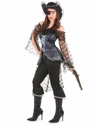 Disfarce de pirata detalhes prateados mulher-1