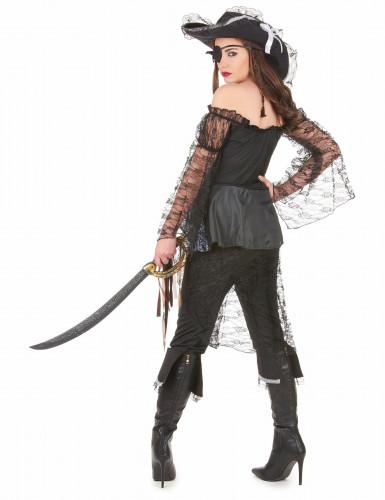 Disfarce de pirata detalhes prateados mulher-2