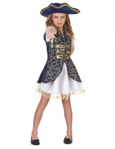 Fantasia de pirata para rapariga azul
