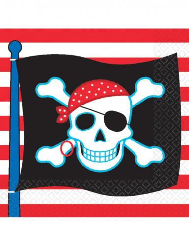 16 Guardanapos bandeira pirata 33 x 33 cm