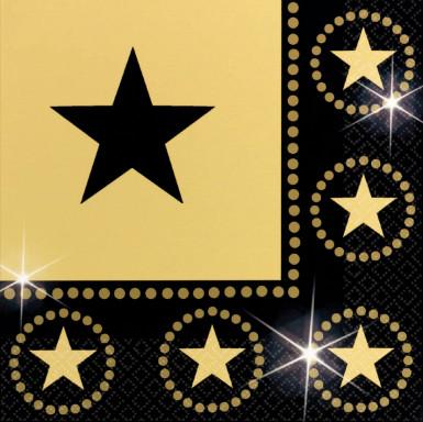 Guardanapos pretos e estrelas douradas