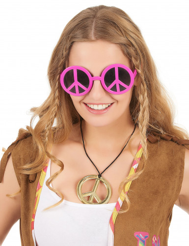 Óculos hippie rosa adulto-1