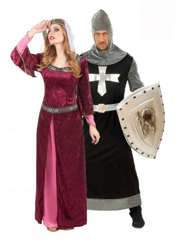 Disfarce de casal rainha e cavaleiro medieval