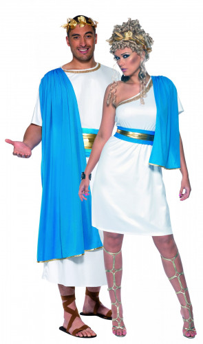 Disfarce de casal de romanos azuis