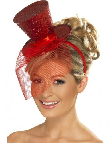 Mini chapéu com brilhantes vermelho