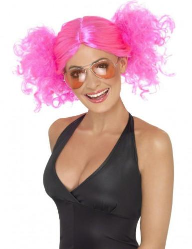 Peruca cor-de-rosa fluorescente para mulher
