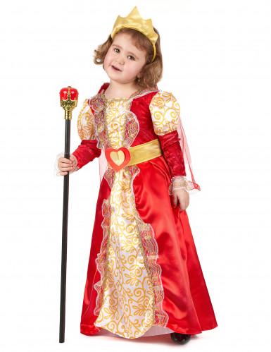 Disfarce de rainha vermelho e dourado menina
