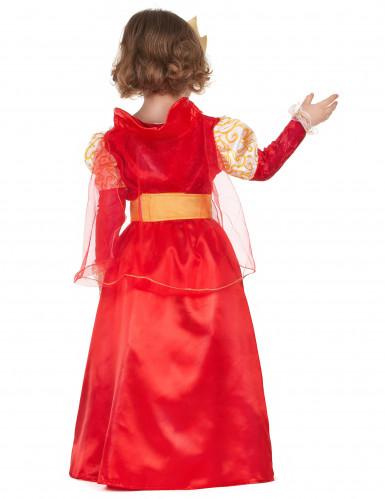 Disfarce de rainha vermelho e dourado menina-2