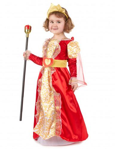 Disfarce de rainha vermelho e dourado menina-1