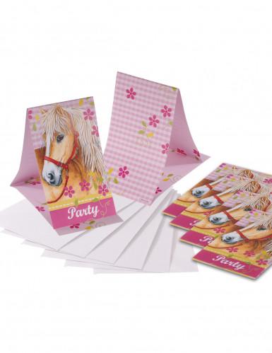6 Convites/Envelopes Cavalos