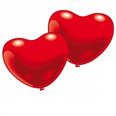 10 Balões coração vermelho