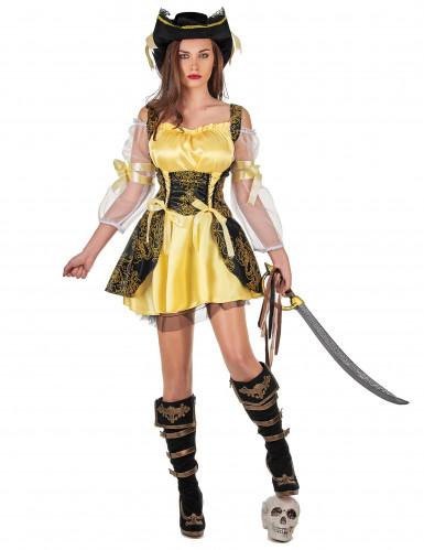 Disfarce de pirata amarelo para mulher