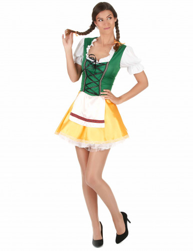 Disfarce de bávara para mulher amarelo e verde-2