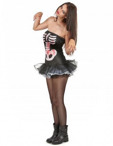 Disfarce esqueleto mulher Halloween sexy-1