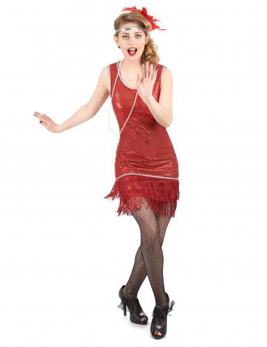 Disfarce de charleston vermelho com brilhantes mulher