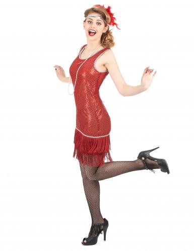 Disfarce de charleston vermelho com brilhantes mulher-1