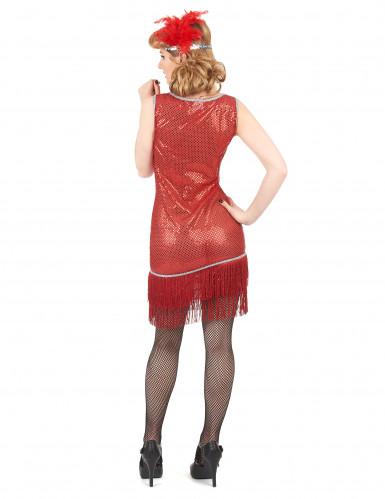 Disfarce de charleston vermelho com brilhantes mulher-2