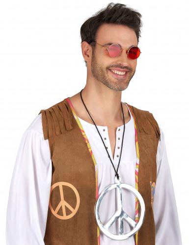 Colar de hippie gigante prateado-1