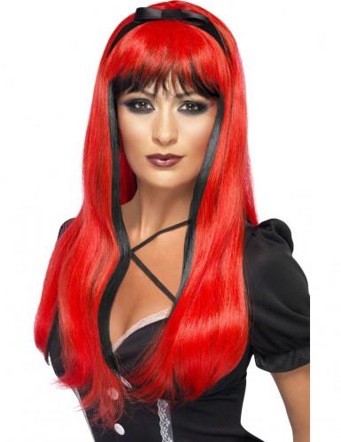 Peruca vermelha e preta com nó preto mulher