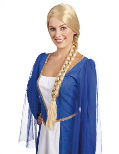 Peruca loura medieval com trança mulher