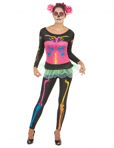 Disfarce esqueleto colorido mulher Halloween