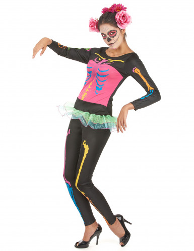 Disfarce esqueleto colorido mulher Halloween-2