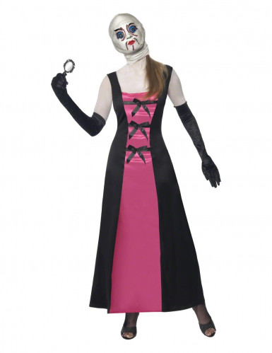 Disfarce boneca rosto recosido adulto Halloween