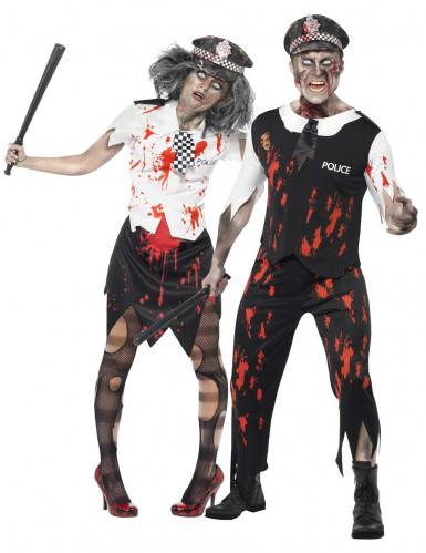 Disfarce casal de polícias zombie Halloween