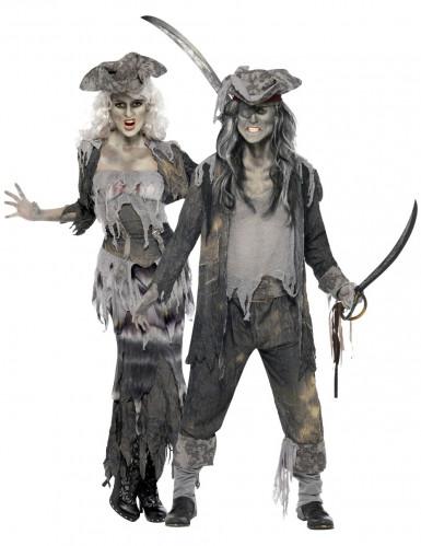 Disfarce casal pirata fantasma Halloween