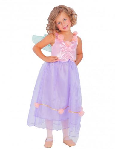 Disfarce fada com asas lilás e cor-de-rosa menina
