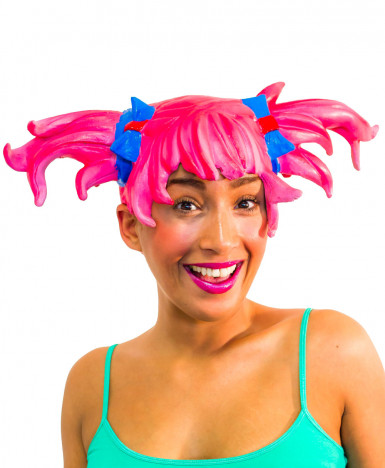 Peruca manga cor-de-rosa adulto mulher